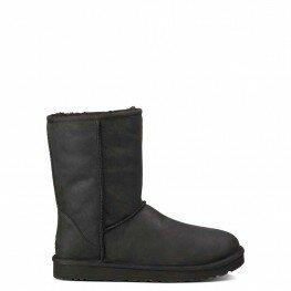 Ugg Classic Short Leather Black - угги классические короткие кожаные(обливные) Черные